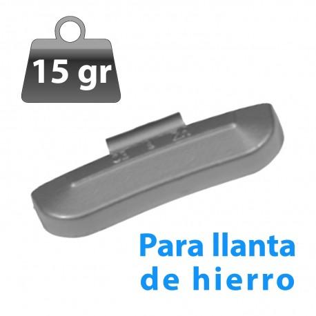 CONTRAPESA ZINC CLIP PARA LLANTA DE HIERRO 15GR 100UND/CAJA
